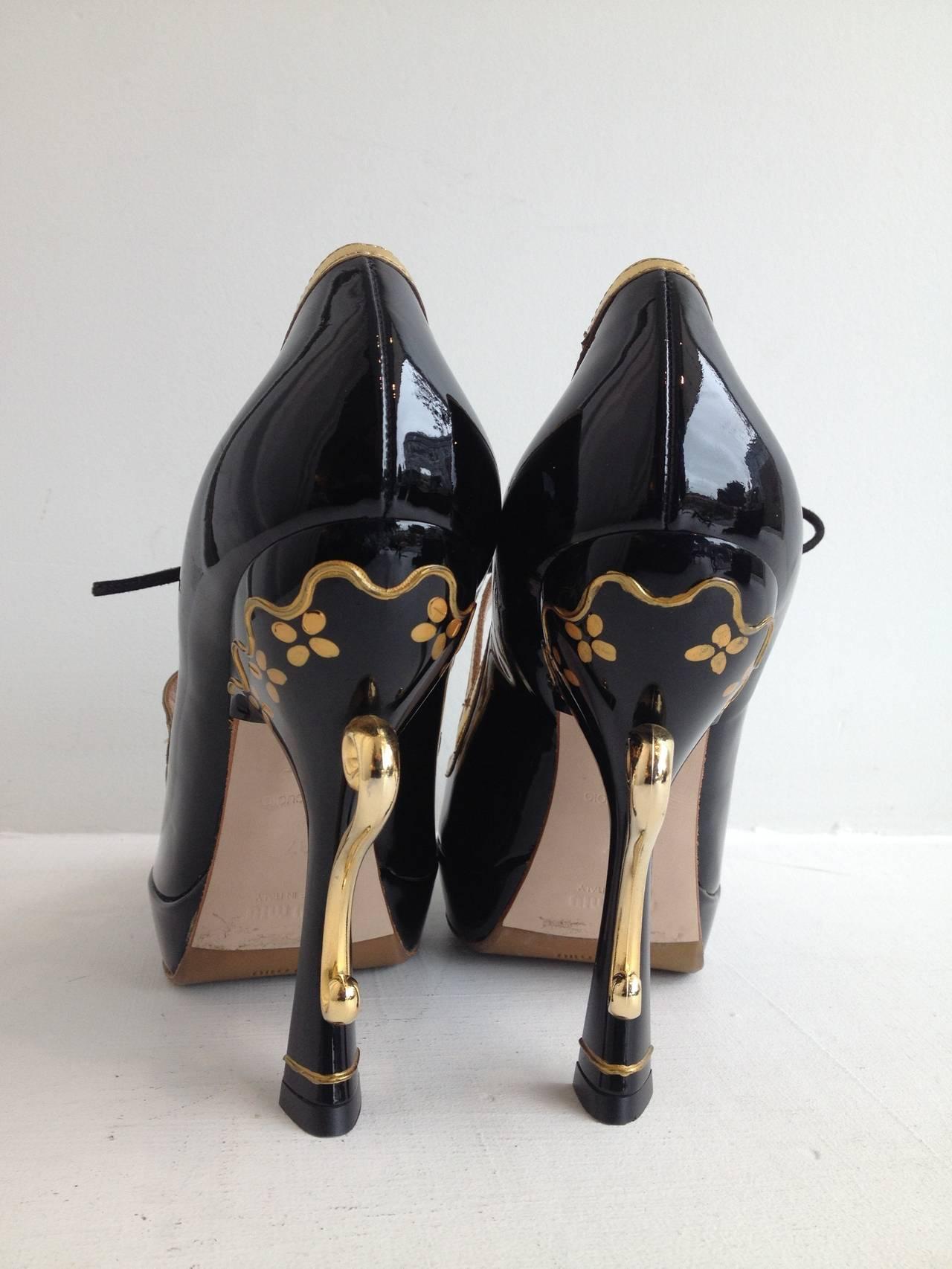 Miu Miu Black Patent Teacup Heels 3