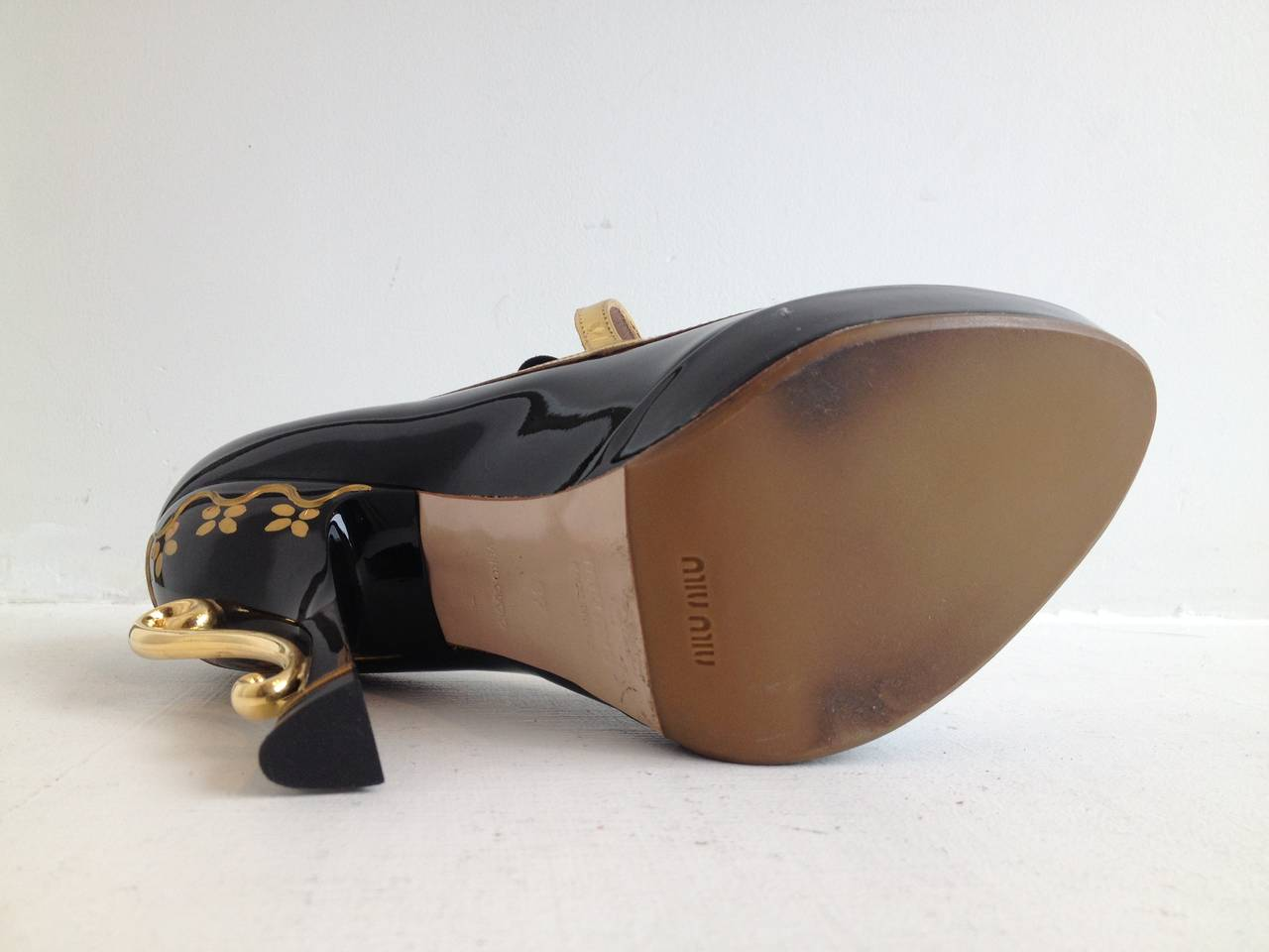 Miu Miu Black Patent Teacup Heels 4