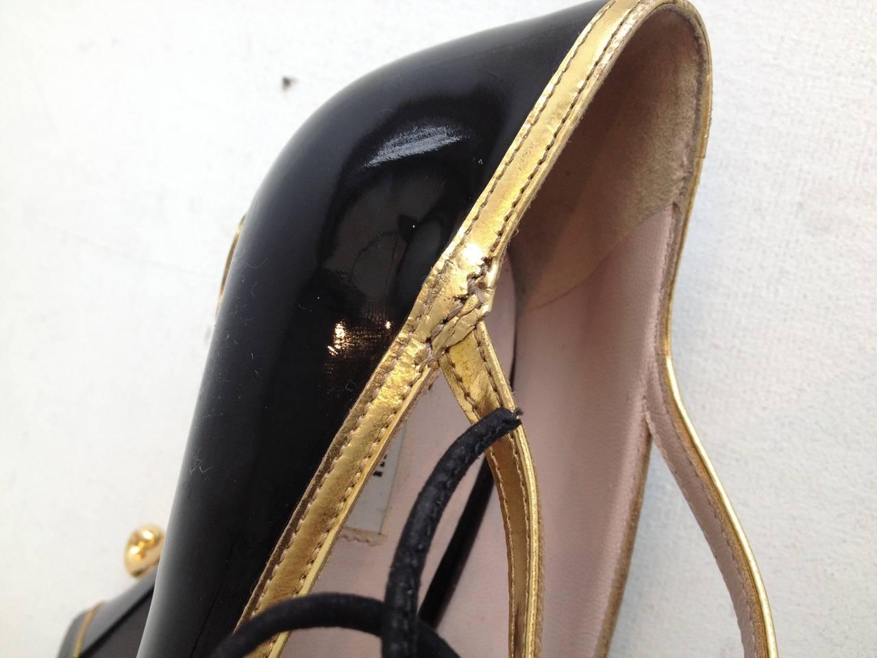 Miu Miu Black Patent Teacup Heels 6