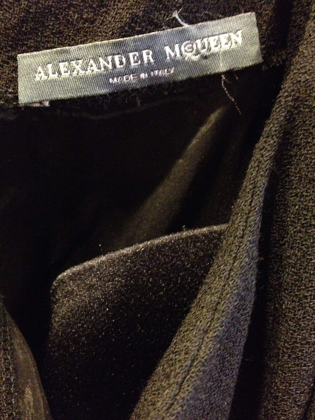 Alexander McQueen Black Dress with White Stitches For Sale 3