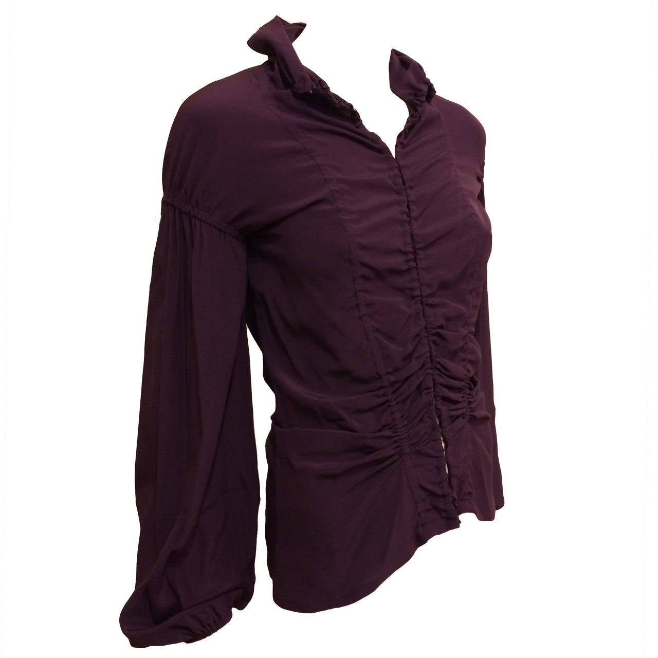 Yves Saint Laurent Purple Ruched Blouse For Sale