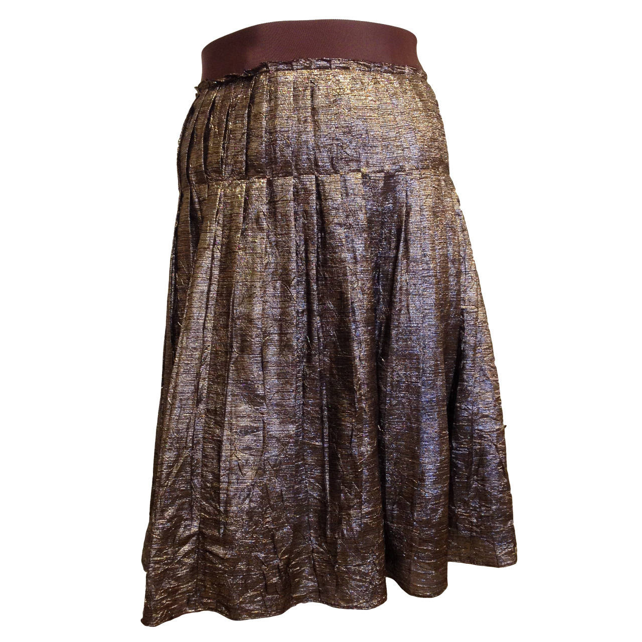Lanvin Bronze Glittery Pleated Skirt 1