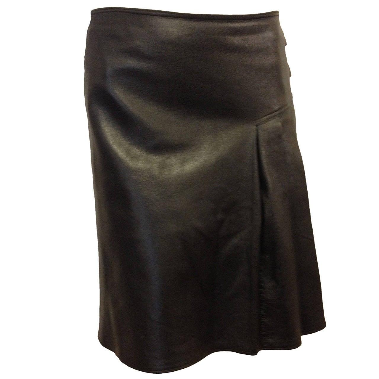 Christian Dior Black Leather Skirt