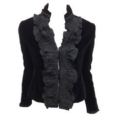 Yves Saint Laurent Black Velvet Jacket with Ruffle