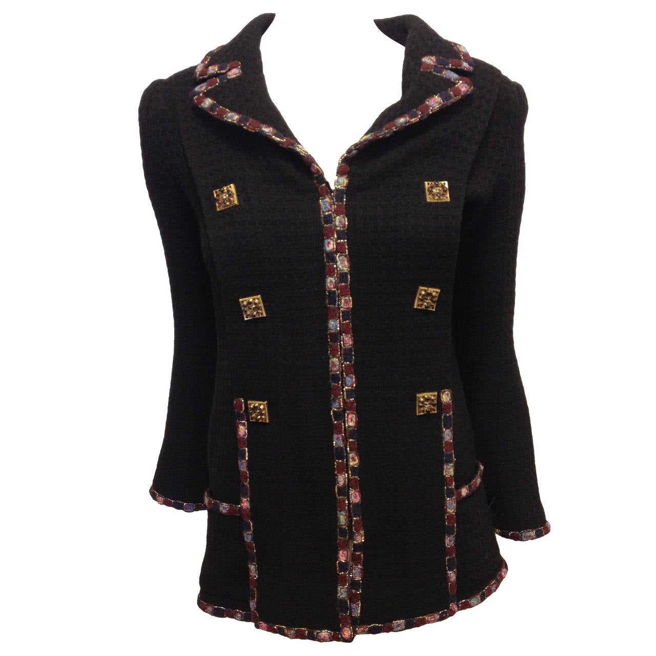 Chanel Black Jacket with Burgundy Trim at 1stdibs