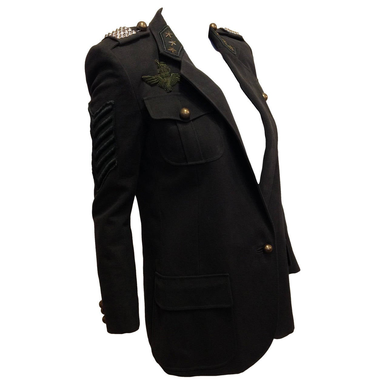 Balmain Charcoal Military Blazer with Forest Green Embroidery