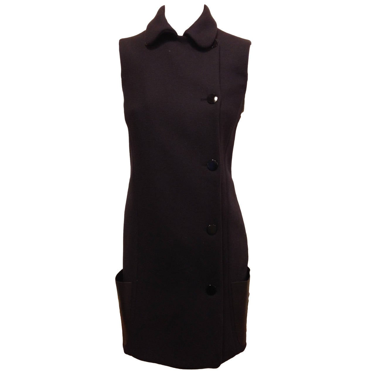 Celine Navy Wool Dress with Black Leather Pockets