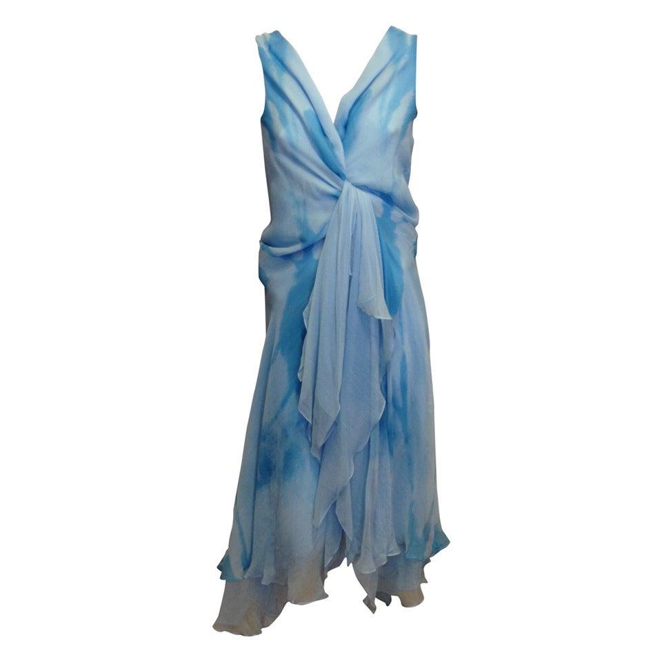Donna Karan Blue Chiffon Dress 1