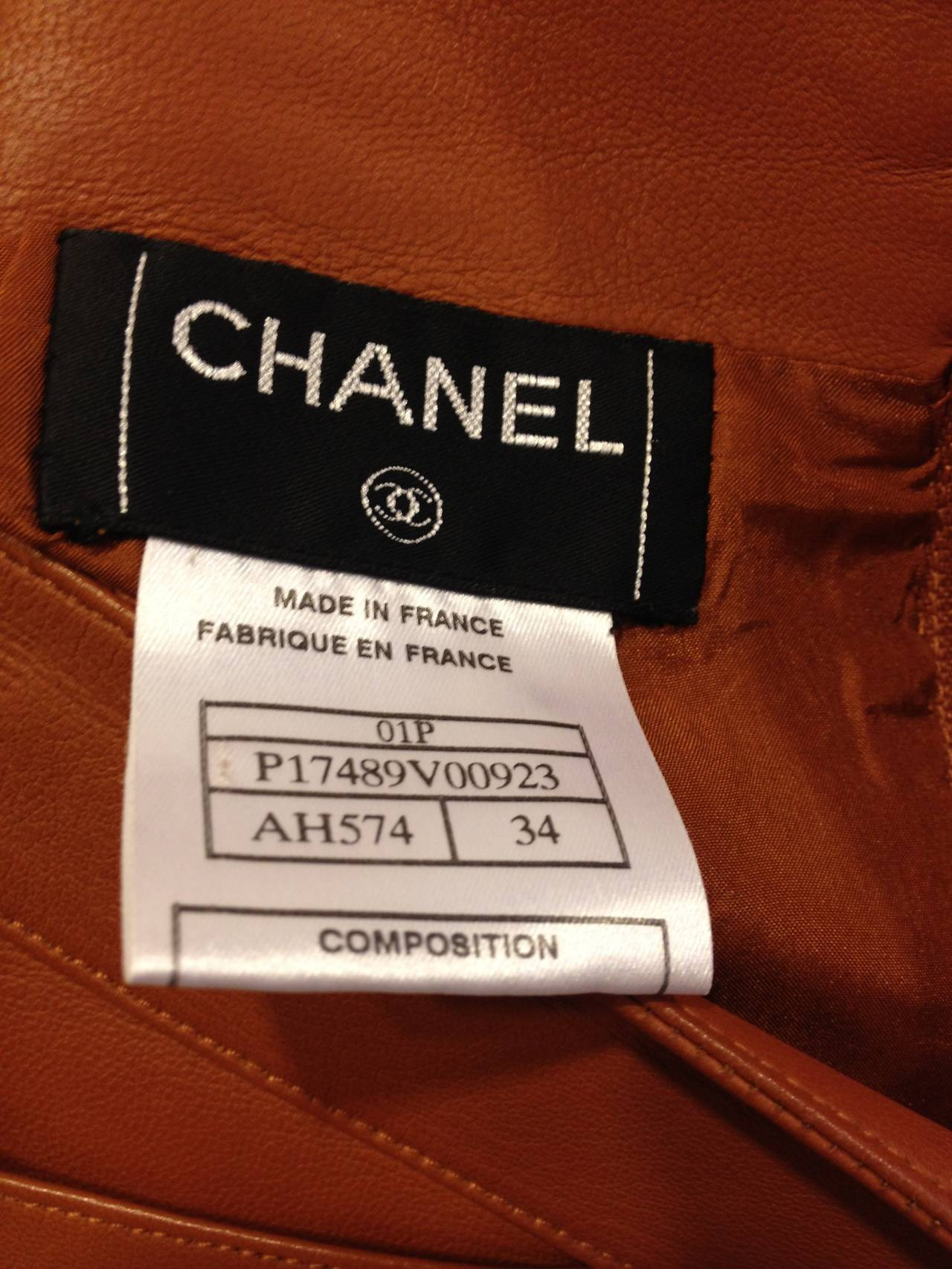 Chanel Caramel Rust Brown Leather Skirt 8