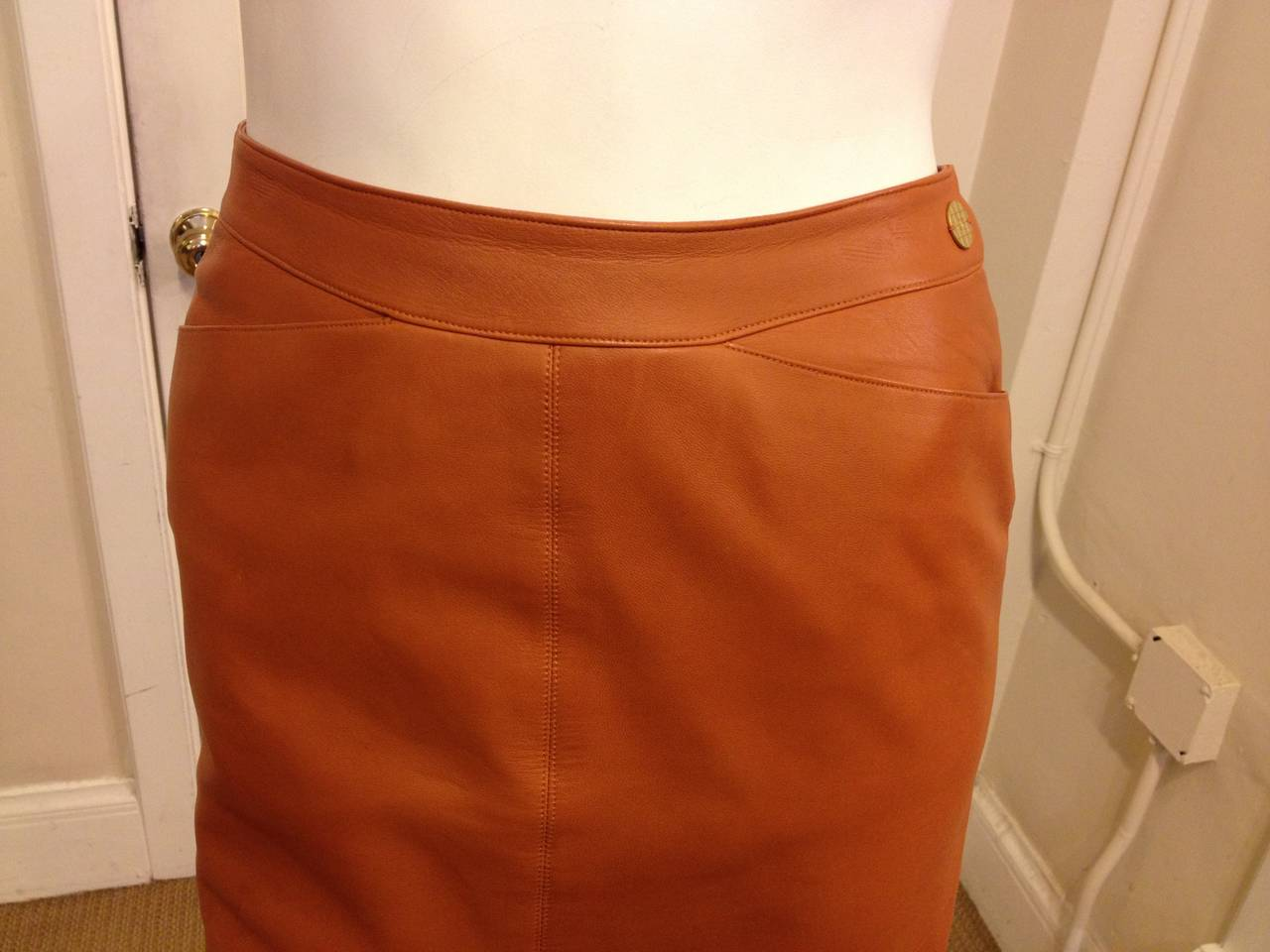 Chanel Caramel Rust Brown Leather Skirt 3