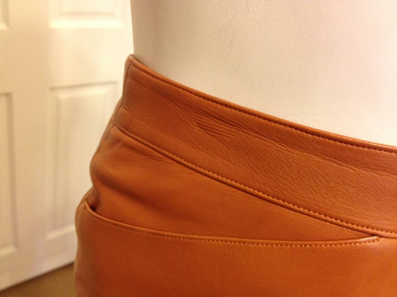 Chanel Caramel Rust Brown Leather Skirt 4