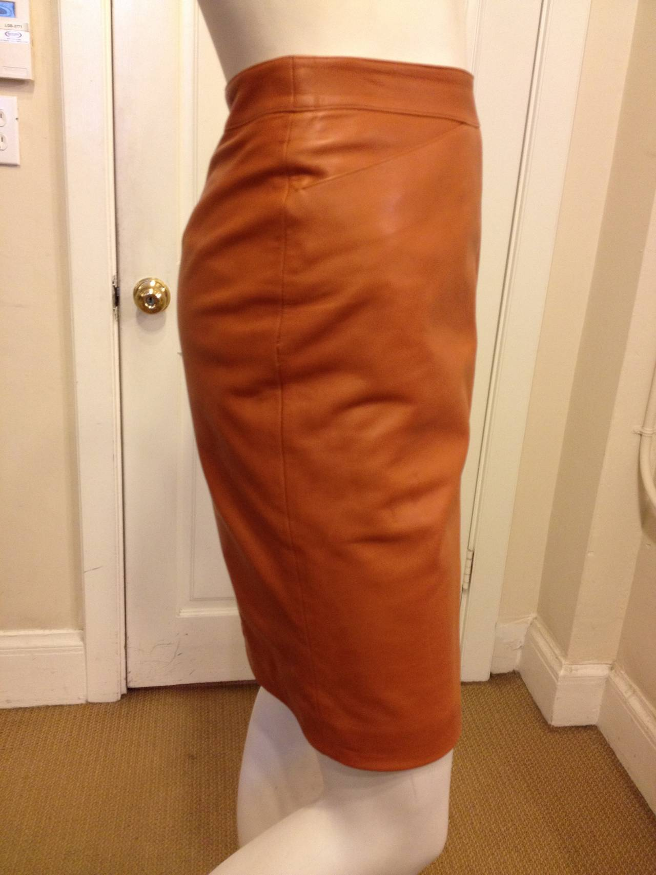 Chanel Caramel Rust Brown Leather Skirt 5