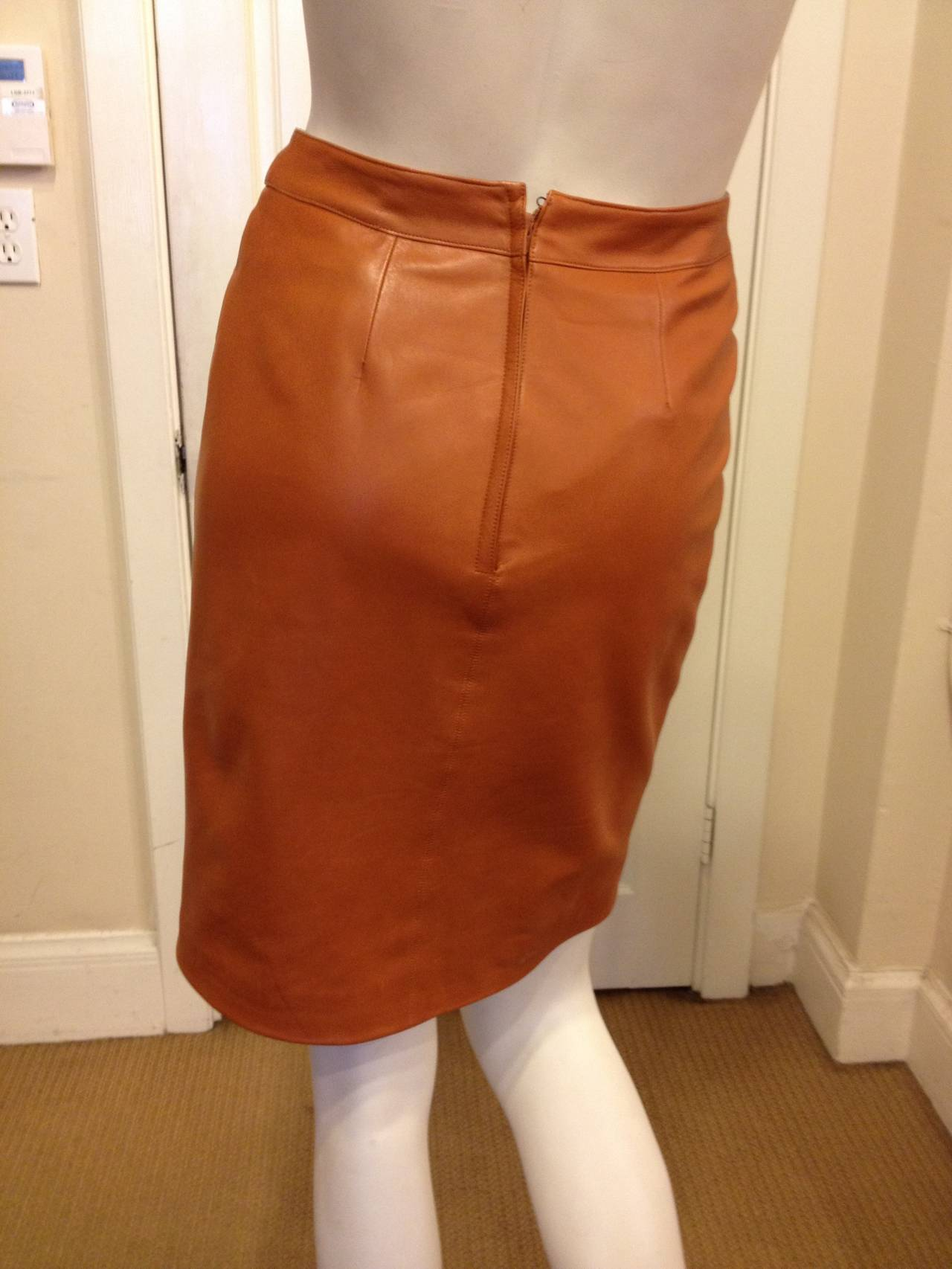 chanel caramel rust brown leather skirt at 1stdibs