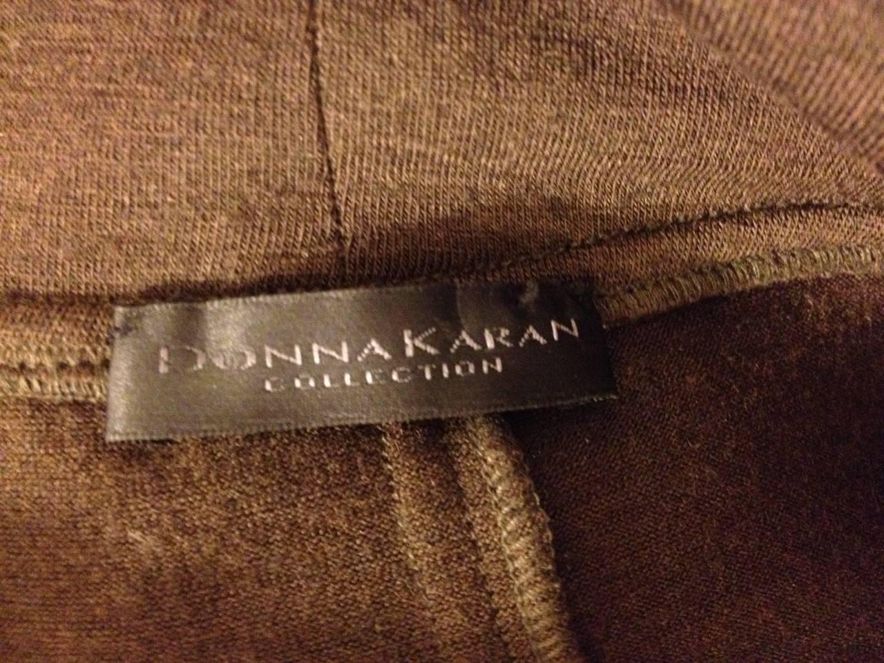 Donna Karan Brown Knit Wrap Dress with Flower 6