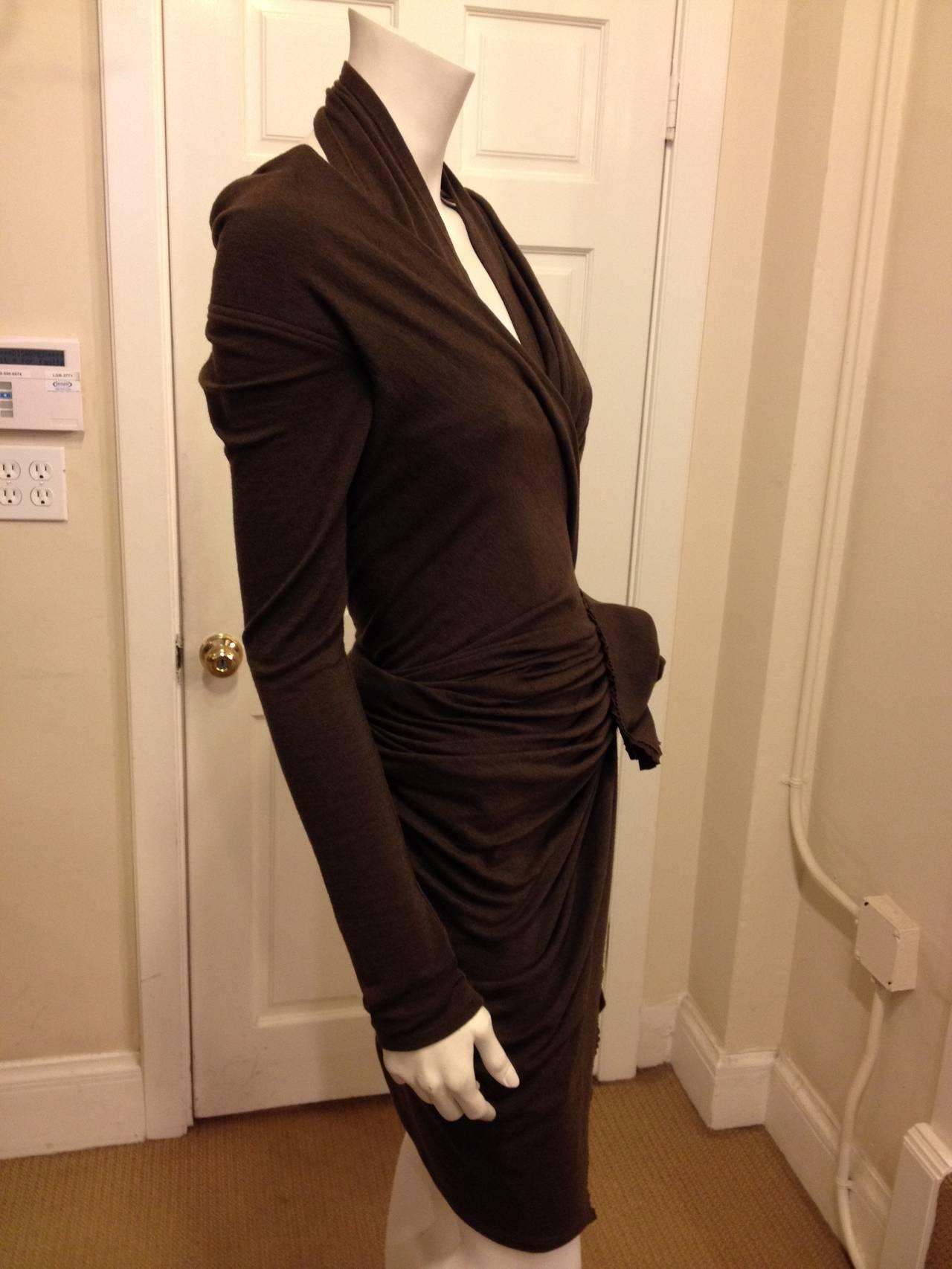 Donna Karan Brown Knit Wrap Dress with Flower 3