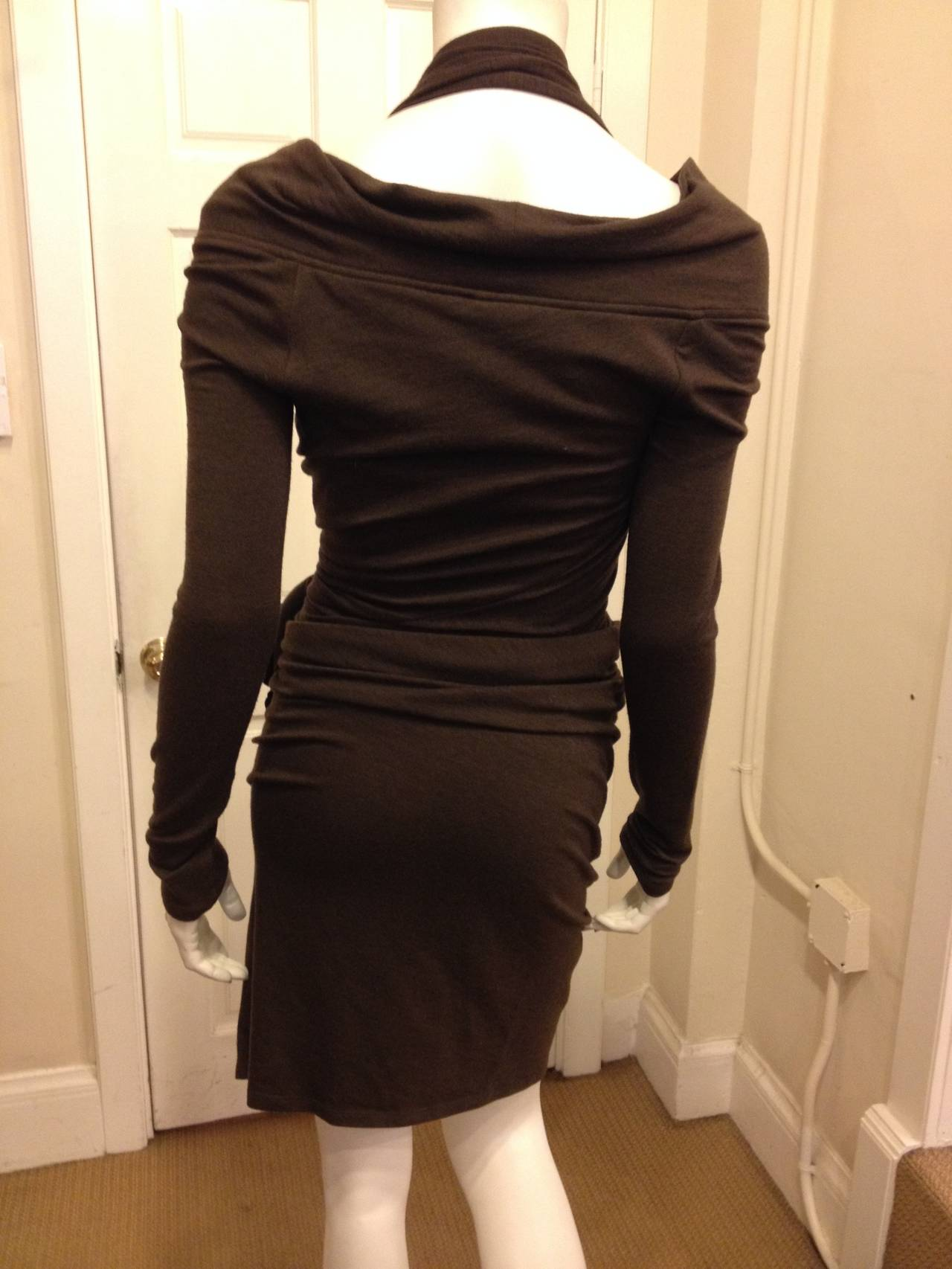 Donna Karan Brown Knit Wrap Dress with Flower 4