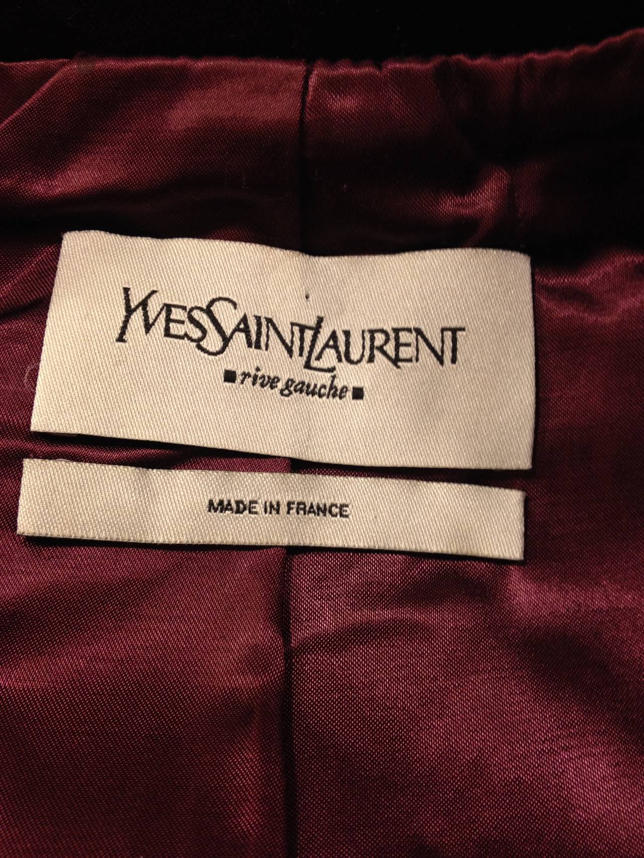 Yves Saint Laurent Wine Velvet Jacket For Sale 2