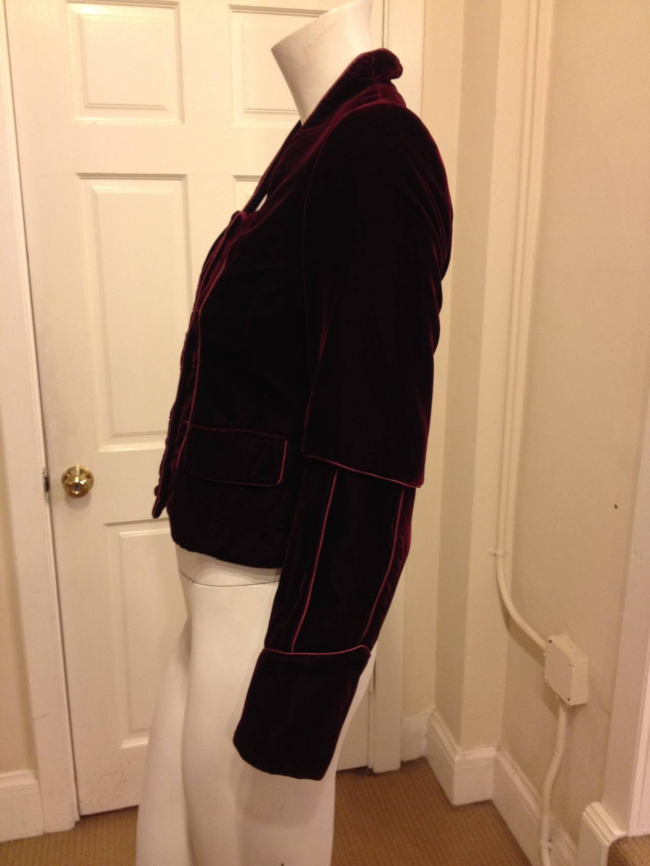 Black Yves Saint Laurent Wine Velvet Jacket For Sale