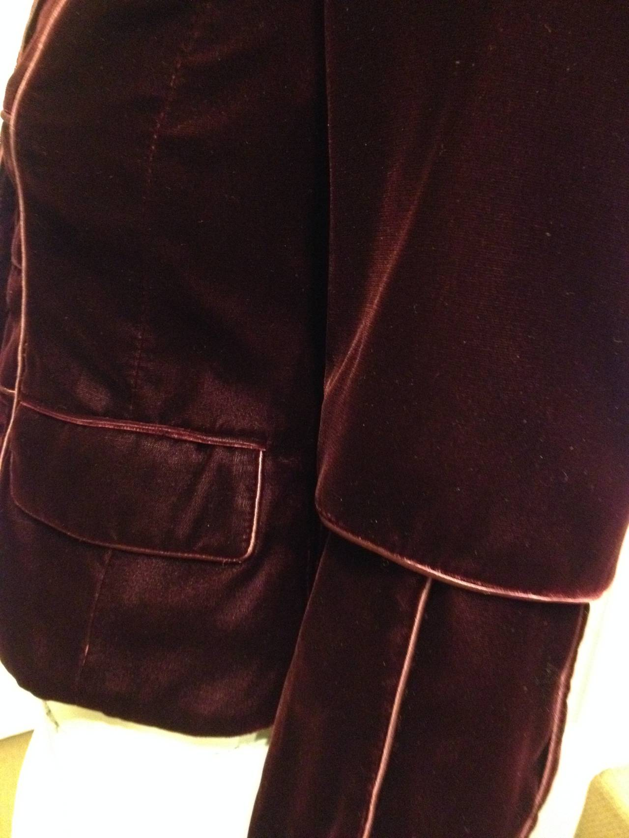 Yves Saint Laurent Wine Velvet Jacket In Excellent Condition For Sale In San Francisco, CA