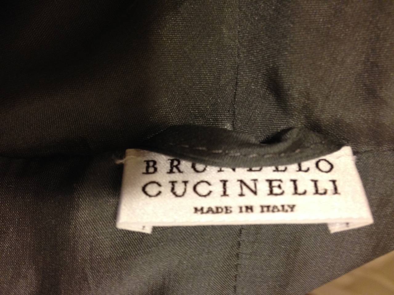 Brunello Cucinelli Brown and Grey Leather Cardigan 6