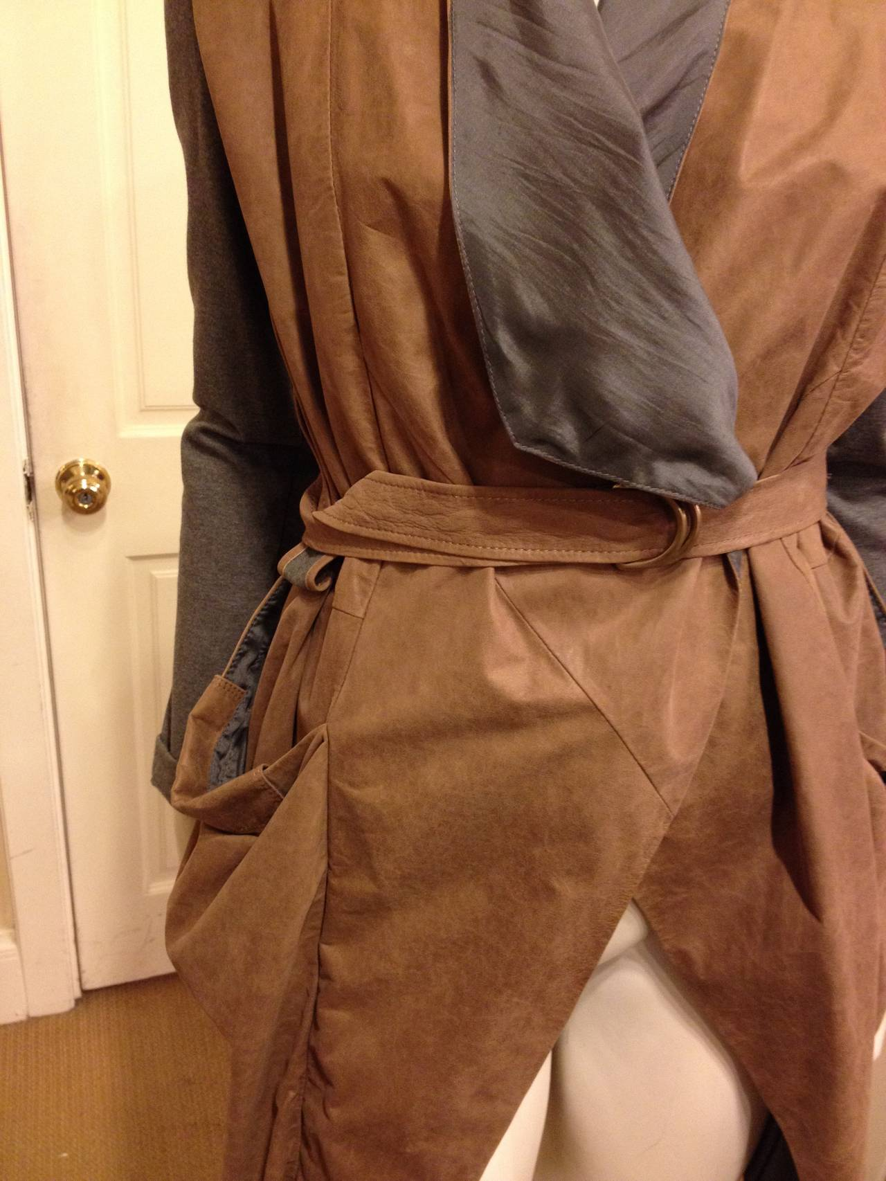 Brunello Cucinelli Brown and Grey Leather Cardigan 2