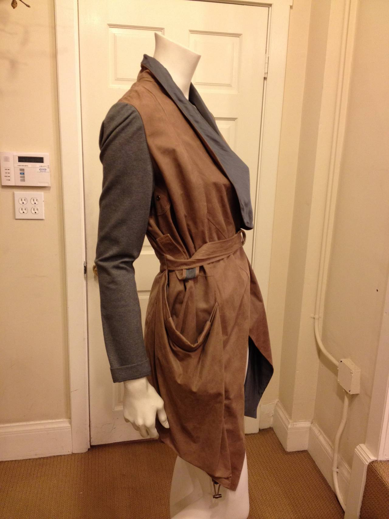 Brunello Cucinelli Brown and Grey Leather Cardigan 3