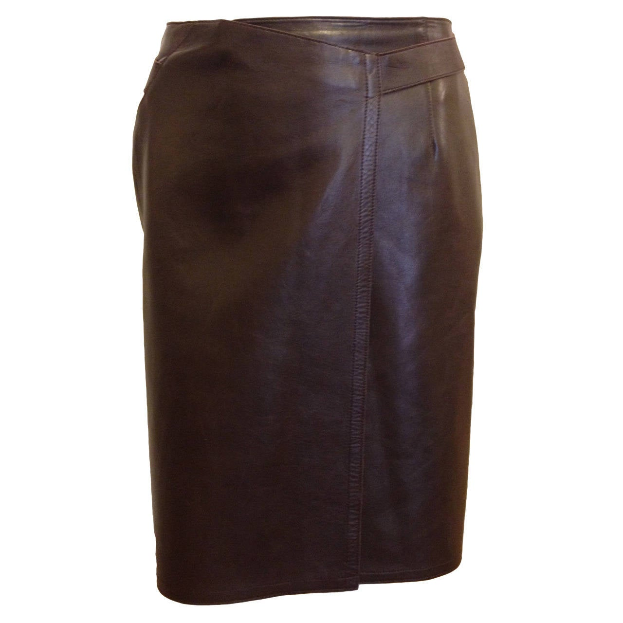 chanel brown leather wrap skirt for sale at 1stdibs