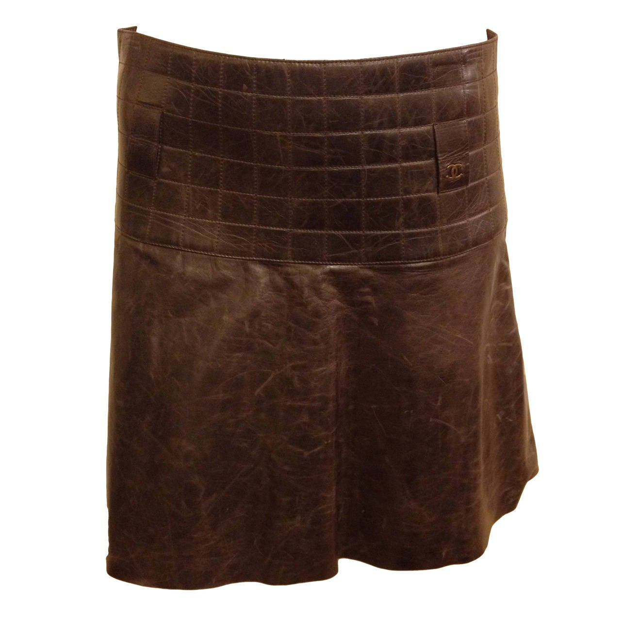 chanel brown leather mini skirt at 1stdibs