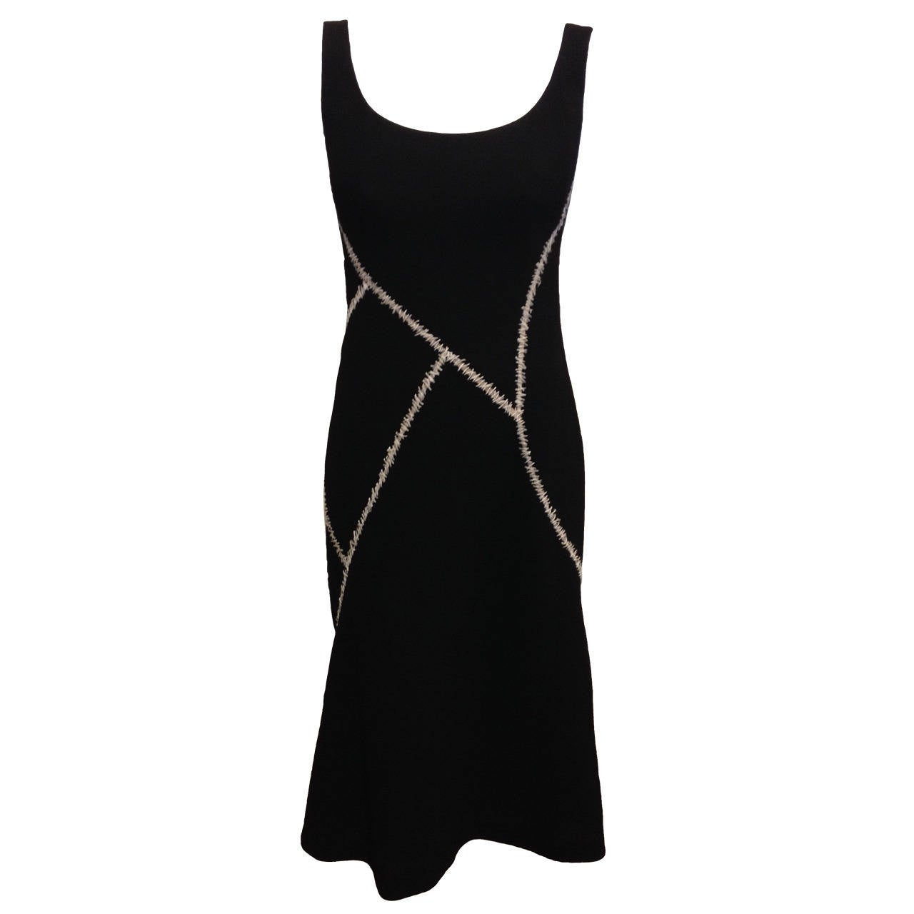 Alexander McQueen Black Dress with White Stitches For Sale