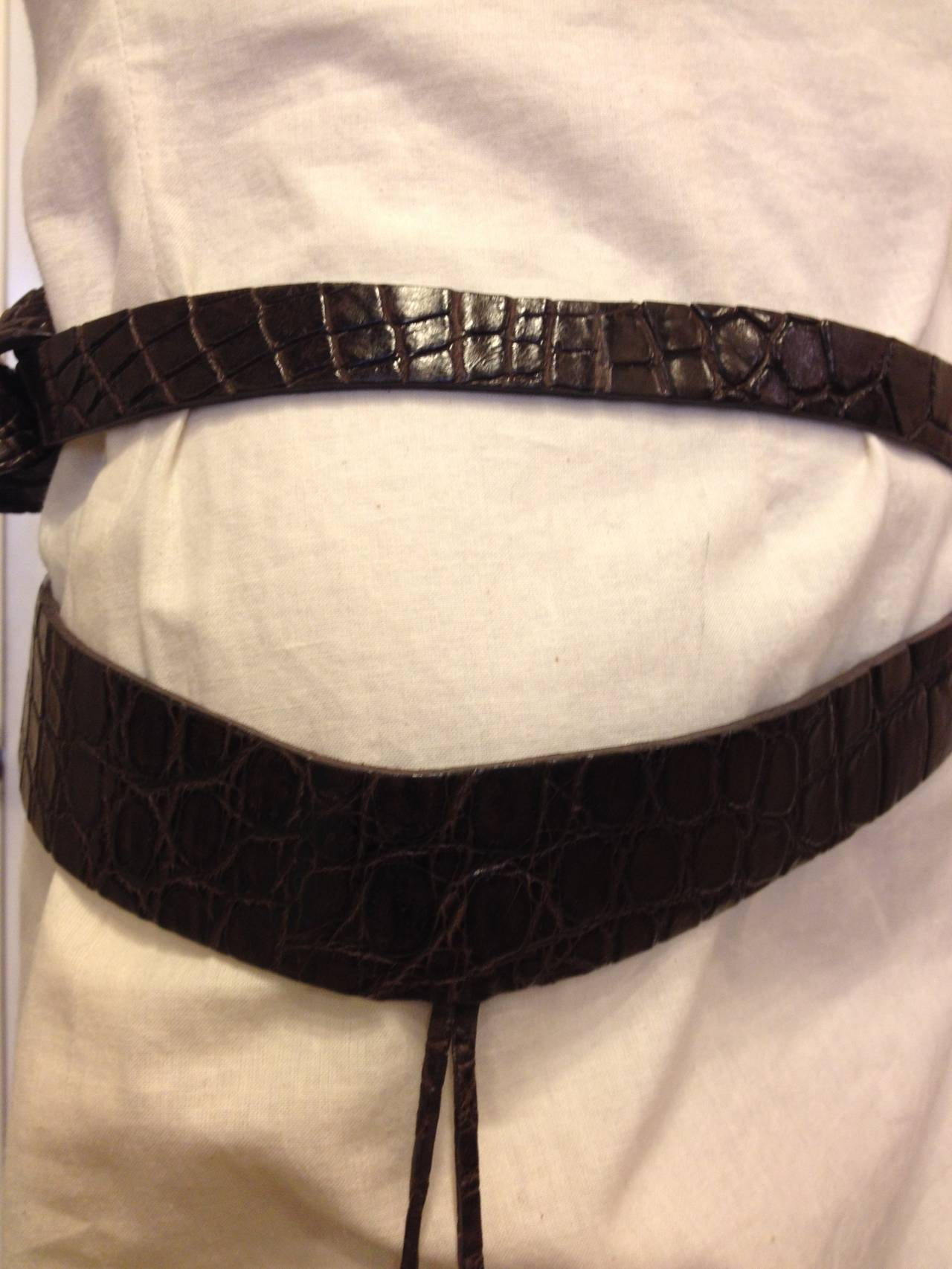 Black Donna Karan Brown Alligator Leather Belt with Pendant For Sale