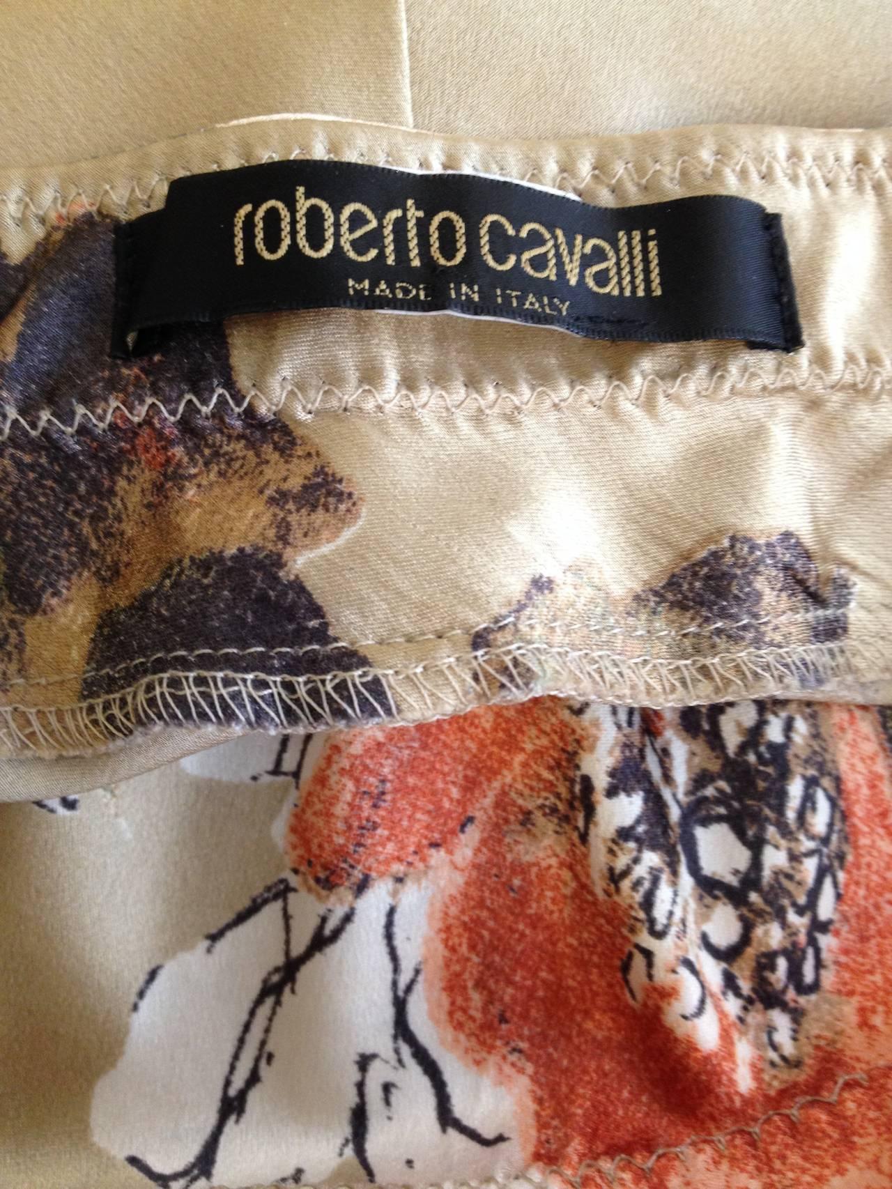 Roberto Cavalli Cream Floral Silk Skirt 5