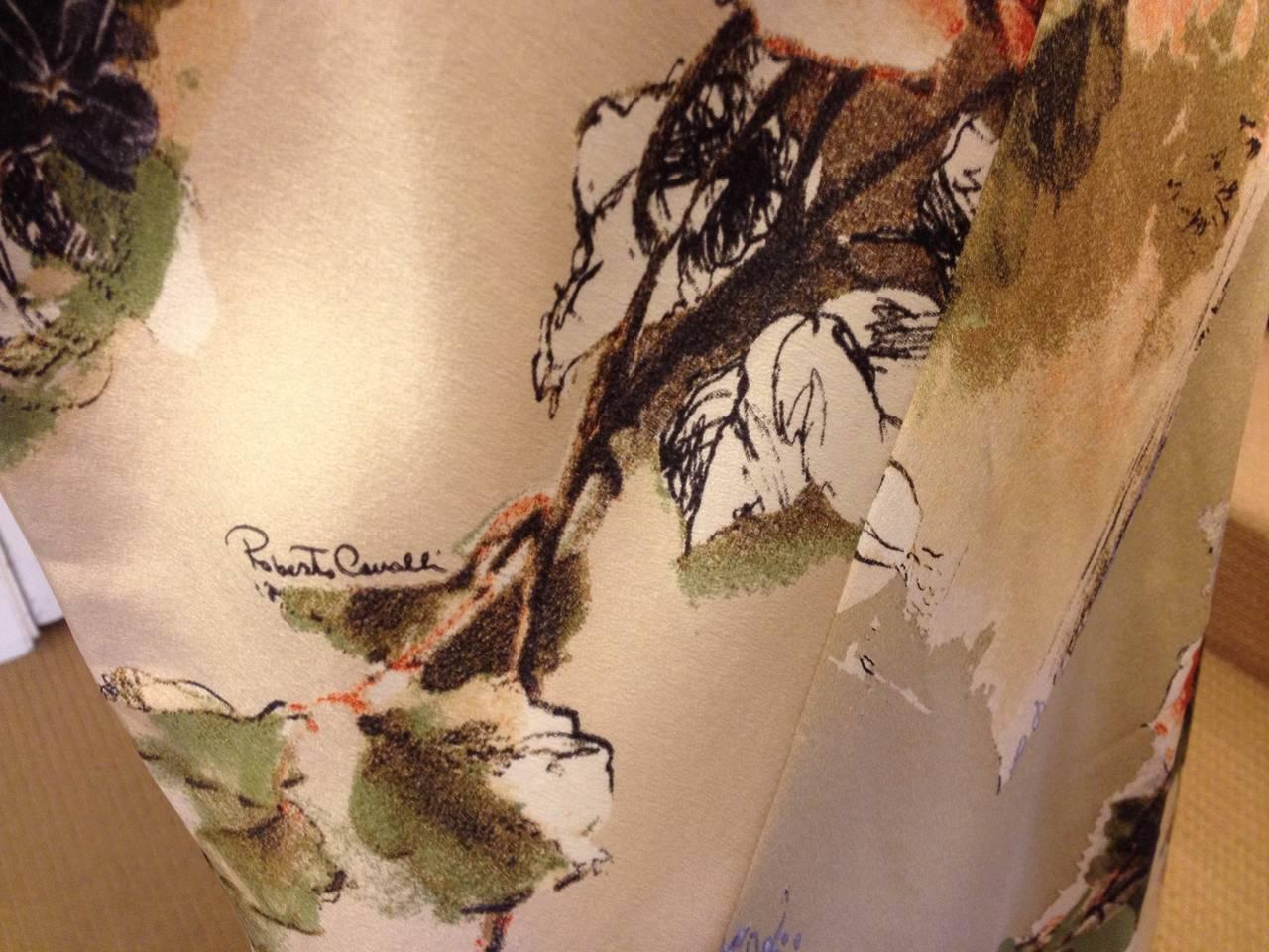 Roberto Cavalli Cream Floral Silk Skirt 2