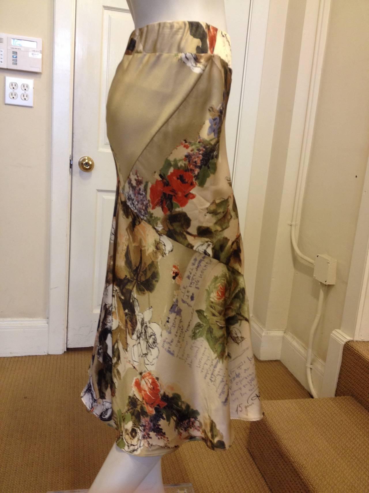 Roberto Cavalli Cream Floral Silk Skirt 3