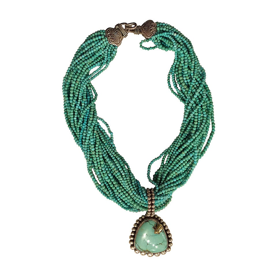 Stephen Dweck Turquoise Necklace With Pendant At 1stdibs