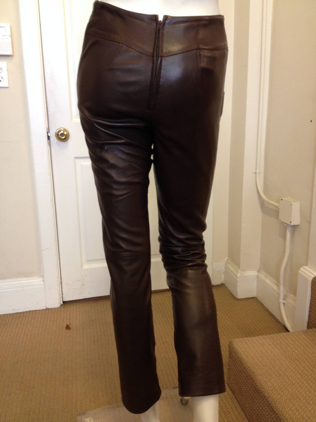 Chanel Chocolate Brown Leather Pants At 1stdibs