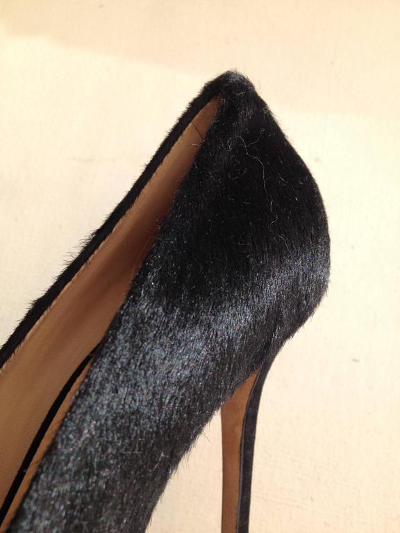 Celine Black Ponyhair Heels Size 37 (6.5) For Sale 2