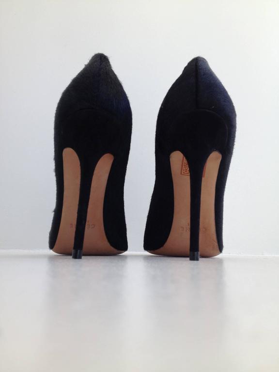 Women's Celine Black Ponyhair Heels Size 37 (6.5) For Sale