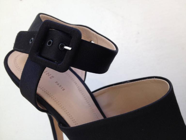 Celine Black Satin Cutout Heels For Sale 2