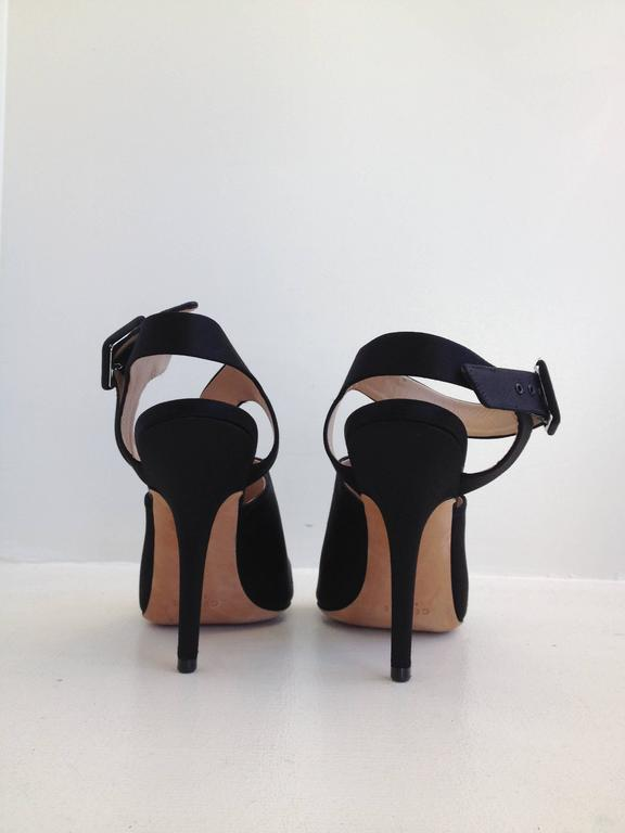 Women's Celine Black Satin Cutout Heels For Sale