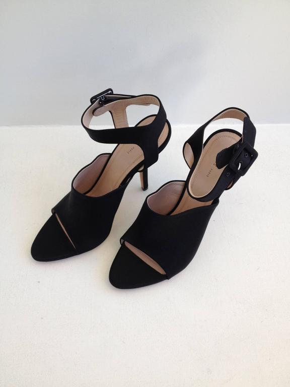 Celine Black Satin Cutout Heels In New never worn Condition For Sale In San Francisco, CA