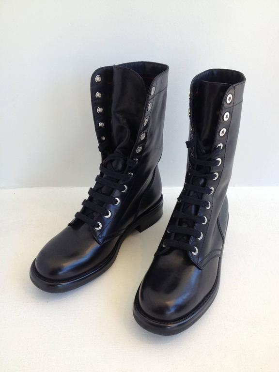 chanel black leather combat boots at 1stdibs
