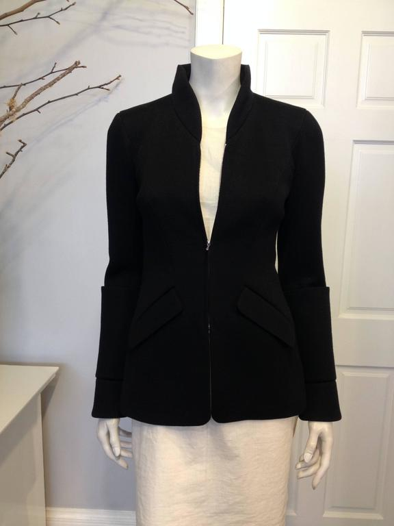 Women's Chanel Black Jacket with Zippers Size 36 (4) For Sale