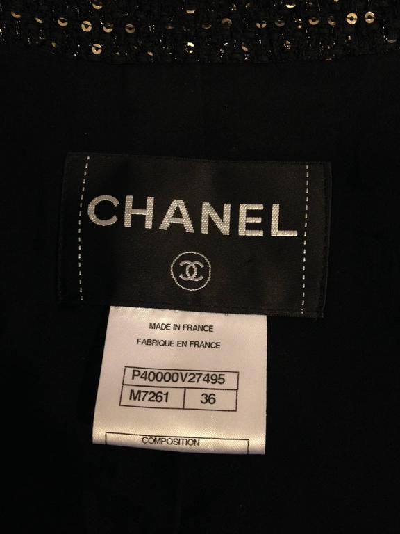 Chanel Black Tweed Jacket with Sequins Size 36 (4) 8