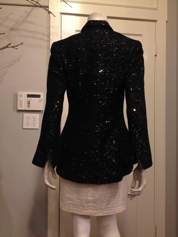 Chanel Black Tweed Jacket with Sequins Size 36 (4) 3