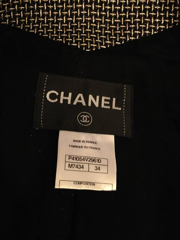 Chanel Black Jacket with Gold and Silver Metallics Size 34 (2) For Sale 4
