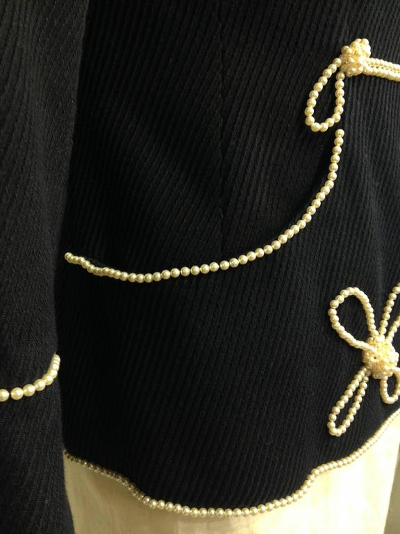 Chanel Navy Majorette Jacket with Pearls For Sale 2