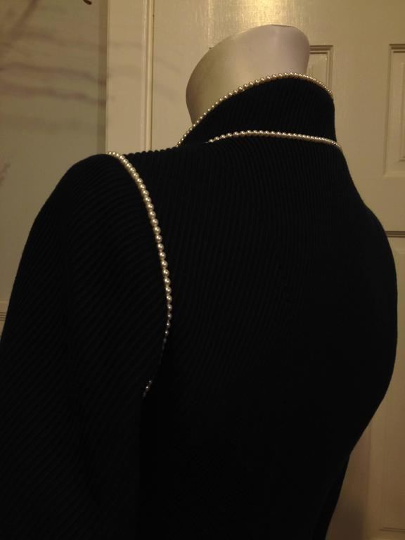 Chanel Navy Majorette Jacket with Pearls For Sale 1