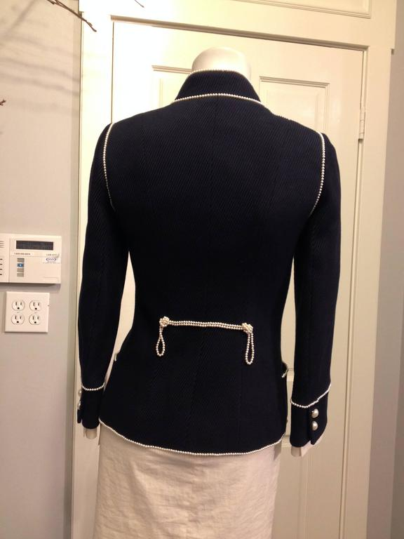 Chanel Navy Majorette Jacket with Pearls In Excellent Condition For Sale In San Francisco, CA