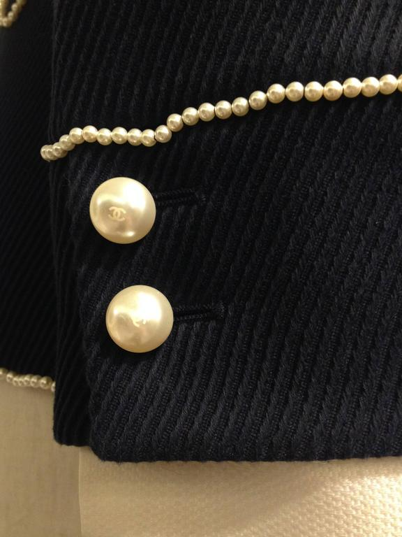 Chanel Navy Majorette Jacket with Pearls For Sale 4