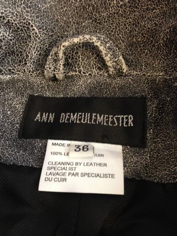 Ann Demeulemeester Grey Distressed Leather Jacket For Sale 5